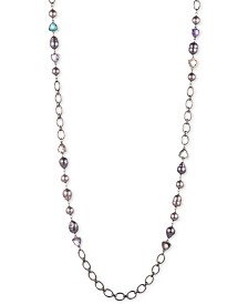 "Carolee Hematite-Tone Crystal, Imitation & Freshwater Pearl (11x15mm) 36"" Station Necklace"