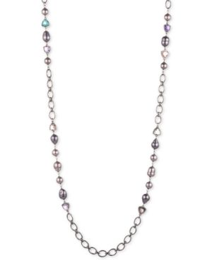 """CAROLEE Hematite-Tone Crystal, Imitation & Freshwater Pearl (11X15Mm) 36"""" Station Necklace in Multi"""