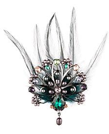 Carolee Hematite-Tone Crystal, Imitation Pearl & Feather Peacock Pin