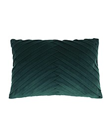 "James Pleated Velvet Pillow, 20"" x 14"""