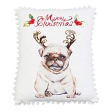 "Polyester Fill Maxwell Christmas Pug Foil Print Mandee Velvet Pillow, 14"" x 18"""