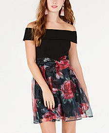 B Darlin Junior's Off-The-Shoulder Chiffon-Skirt Dress
