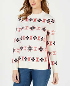 Charter Club Mock-Neck Snowflake Sweater, Created for Macy's