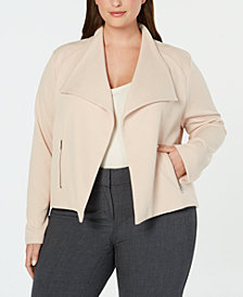 Calvin Klein Plus Size Wing-Collar Textured Jacket