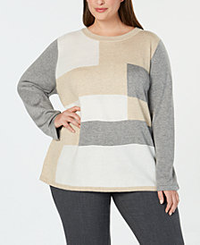 Calvin Klein Plus Size Colorblocked Sweater