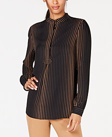 Anne Klein Printed Button-Neck Top
