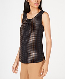 Florentine Dot-Print Shirred Sleeveless Top