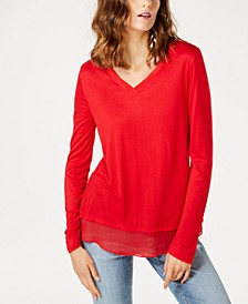 INC Sheer-Trim T-Shirt, Created for Macy's