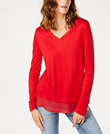 INC Sheer-Trim T-Shirt, Created for Macy's