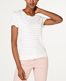 INC Rhinestone-Front Short-Sleeve Sweater, Created for Macy's