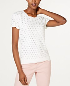 I.N.C. Rhinestone-Front Short-Sleeve Sweater, Created for Macy's
