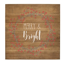 Cathys Concepts Merry and Bright Rustic Wood Sign