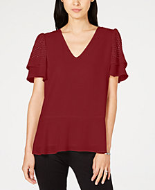 MICHAEL Michael Kors Tiered Embellished-Sleeve Top