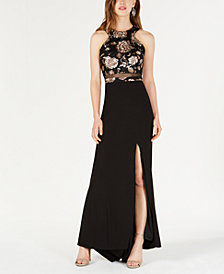 Morgan & Company Juniors' Floral Halter-Neck Gown