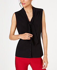 Anne Klein Sleeveless Tie-Neck Button-Front Blouse