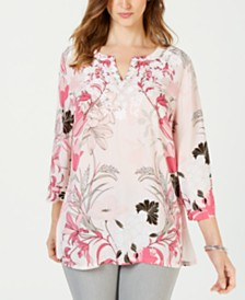 Charter Club Petite Floral-Print Embellished Top, Created for Macy's
