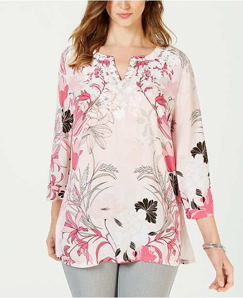 d5b65464729 ... Charter Club Plus Size Embroidered Printed Tunic Top, Created for Macy's  ...