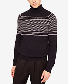 A|X Armani Exchange Men's Pattern Blocked Turtleneck Sweater
