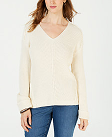 Charter Club V-Neck Cuffed-Sleeve Sweater, Created for Macy's