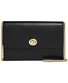 COACH Turnlock Chain Crossbody in Refined Leather