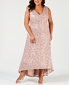 Nightway Plus Size Sequined High-Low Gown