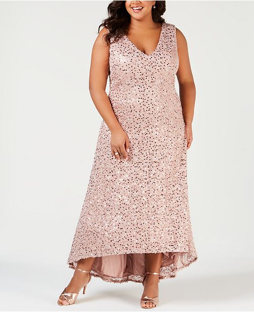 Nightway Plus Size Sequined High-Low Gown & Reviews ...