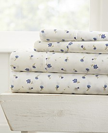 The Farmhouse Chic Premium Ultra Soft Pattern 4 Piece Sheet Set by Home Collection - Cal King