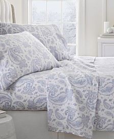Home Collection Premium Paisley Pattern  Flannel Full Sheet Set, 4-Piece