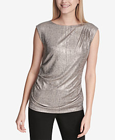 Calvin Klein Ruched Metallic Top