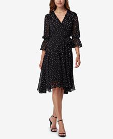Tahari ASL Dot-Print Faux-Wrap Dress