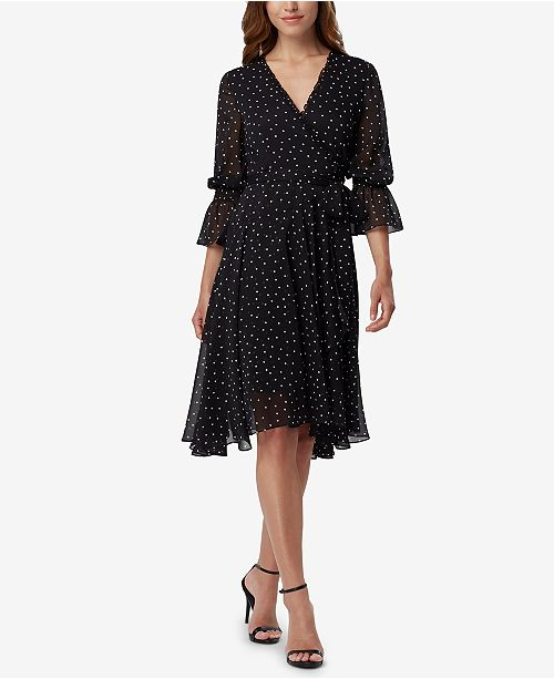 ASL Dot-Print Faux-Wrap Dress