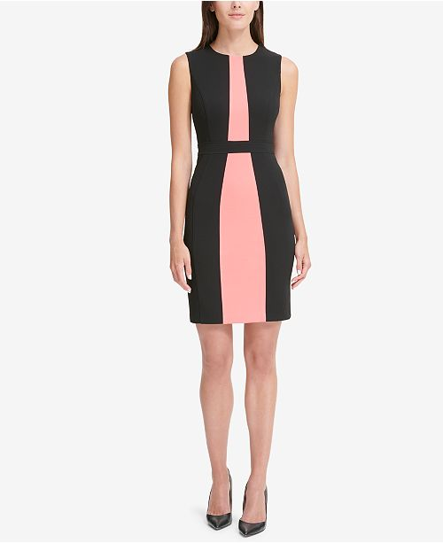 718812e3b02 Tommy Hilfiger Colorblocked Scuba Crepe Sheath Dress & Reviews ...