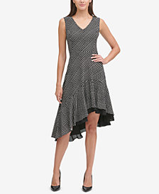 Tommy Hilfiger Polka Dot Asymmetrical Dress