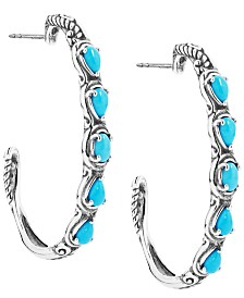 Carolyn Pollack Turquoise Five-Stone Earrings in  Sterling Silver