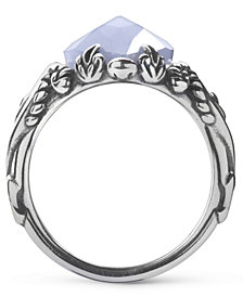 Carolyn Pollack Blue Lace Agate Marquis Ring in Sterling Silver