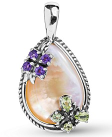 Gold Mother of Pearl (18x25mm) and Multi Gemstone Flower Pendant Enhancer in Sterling Silver