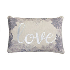 1422 PF Lynette Love Foil Printed Flash Faux Linen Pillow