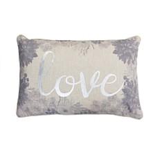 "Thro Polyester Fill Lynette Love Foil Printed Flash Faux Linen Pillow, 14"" x 22"""