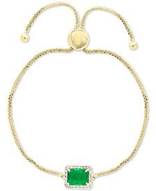 EFFY® Emerald (1-3/8 ct. t.w.) & Diamond (1/5 ct. t.w.) Bolo Bracelet in 14k Gold