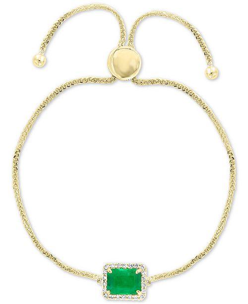 EFFY Collection EFFY® Emerald (1-3/8 ct. t.w.) & Diamond (1/5 ct. t.w.) Bolo Bracelet in 14k Gold