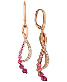 Strawberry Layer Cake Multi-Gemstone Treble Clef Drop Earrings (1-1/4 ct. t.w.) in 14k Rose Gold