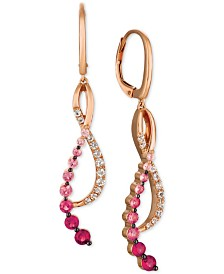 Le Vian® Strawberry Layer Cake Multi-Gemstone Treble Clef Drop Earrings (1-1/4 ct. t.w.) in 14k Rose Gold