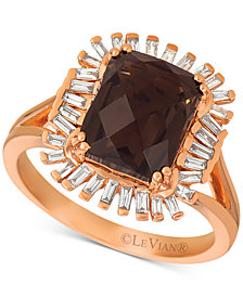 Le Vian® Baguette Frenzy Chocolate Quartz (3-1/10 ct. t.w.) and Vanilla Diamond (1/3 ct. t.w.) Ring set in 14k Rose Gold