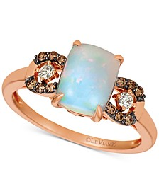 Neopolitan Opal (7/8 ct. t.w.) & Chocolate and Vanilla Diamond (1/5 ct. t.w.) Ring in 14k Rose Gold