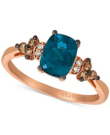 Deep Sea Blue Topaz (1-1/2 ct. t.w.) & Vanilla and Chocolate Diamond (1/6 ct. t.w.) Ring in 14k Rose Gold (Also available in Green Apple® Peridot)