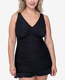 Profile by Gottex Plus Size Ribbons Textured Swimdress