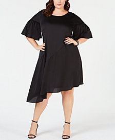 Robbie Bee Plus Size Asymmetrical Shift Dress