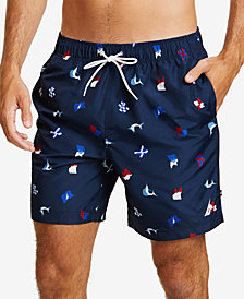 Nautica Mens Sail Flag Icon Swim Trunks
