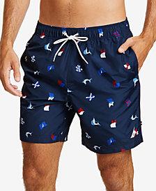 Nautica Mens Sail Flag Icon Swim Trunks