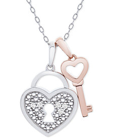 "Diamond Accent Heart Lock & Key 18"" Pendant Necklace in Sterling Silver & 14k Rose Gold-Plate"